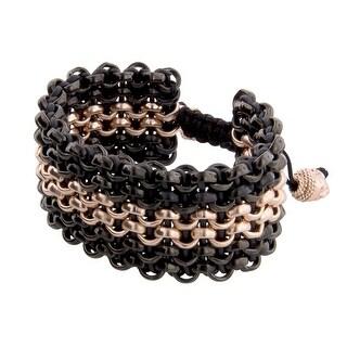 Links Women's Six-Row Bracelet in 14K Rose Gold & PVD Plate - three-tone