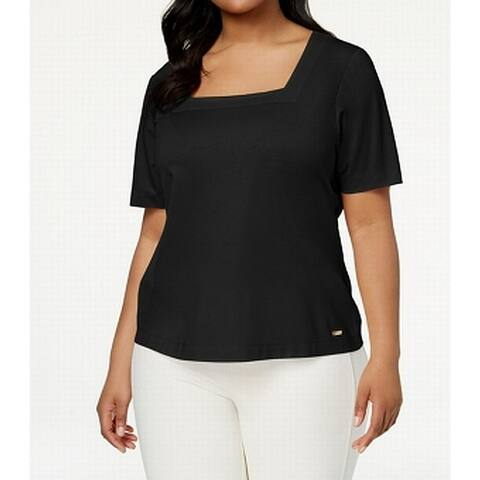 Calvin Klein Deep Black Womens Size 3X Plus Square-Neck Blouse