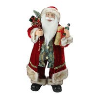 "24"" Old World Style Standing Santa Claus Christmas Figure with Gift Bag and Presents - RED"
