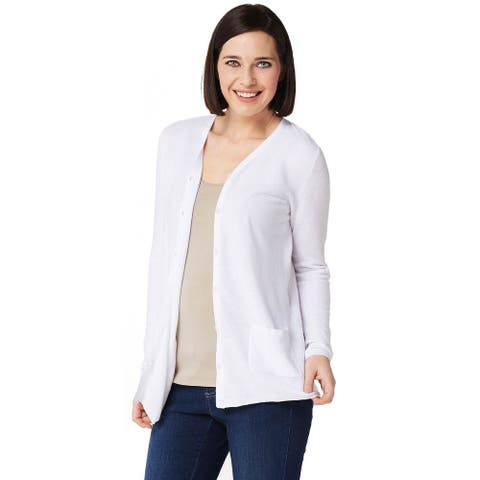 Joan Rivers Womens Cardigan with Grosgrain Ribbon Detail Plus 2X White A347327
