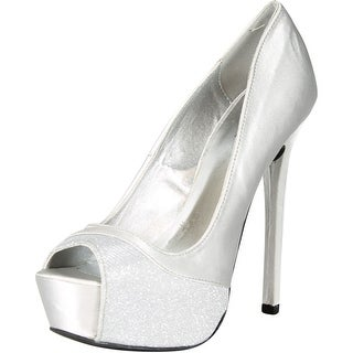 Qupid Women's Miriam53 Special Occasion Glitter Hidden Platform High Heel Stiletto Shoes - silver satin - 5.5 b(m) us