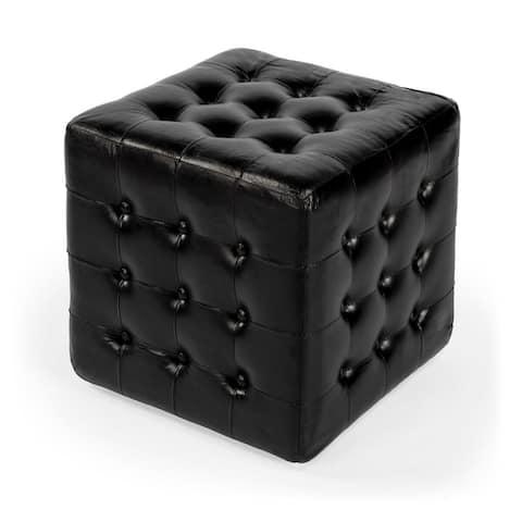 Offex Leon Home Decorative Square Black Button Tufted Leather Ottoman