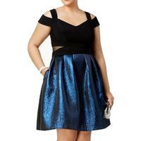 Xscape Blue Women's Size 20W Plus Floral Brocade A-Line Dress