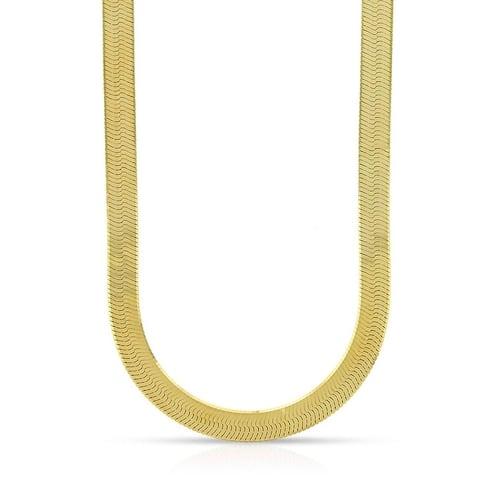 14K Yellow Gold 5MM Imperial Herringbone Chain, Flexible Flat Snake Magic Gold Necklace for Men & Women, Capital Jewelry