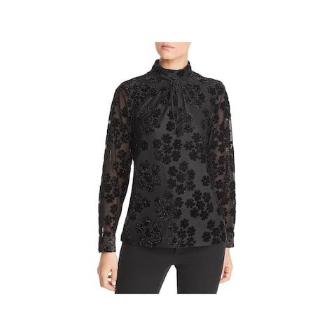 Karl Lagerfeld Womens Blouse Velvet Flocked