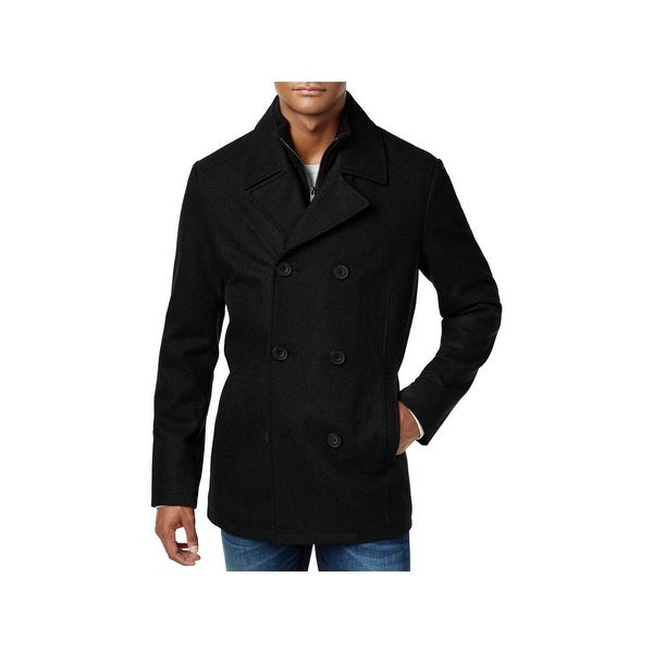 Shop Kenneth Cole Reaction Mens Pea Coat Winter Wool Blend Free