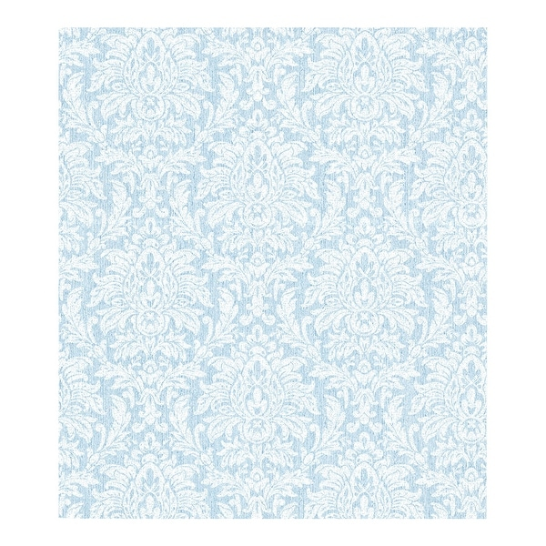 Angela Blue Transparent Damask Wallpaper - 324in x 27in 0.25in. Opens flyout.