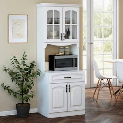 Living Skog 73'' Galiano Pantry Kitchen Storage Cabinet White For Microwave