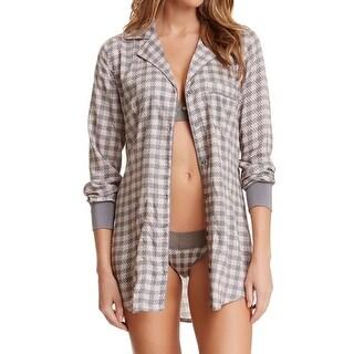 Splendid NEW Gray Womens Size XS Houndstooth Button-Down Sleepshirt