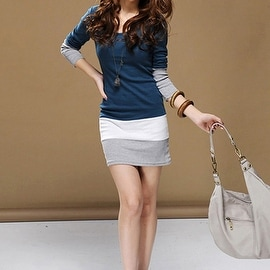 Autumn Winter Women Long Sleeve knit Bodycon Tops Slim Party Sweater Mini Dress