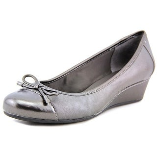 Easy Spirit Davalyn W Open Toe Leather Wedge Heel