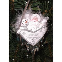 Merry Christmas Santa & Snowman Ornament With Feathers & Icicles