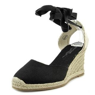 Soludos Tall Wedge Women  Open Toe Canvas Black Wedge Heel