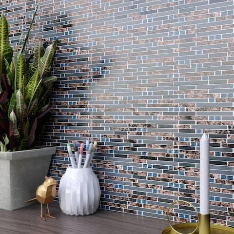 TileGen. Emperador Diamond Random Sized Mixed Material Tile in Gray/Brown Wall Tile (10 sheets/9.6sqft.)