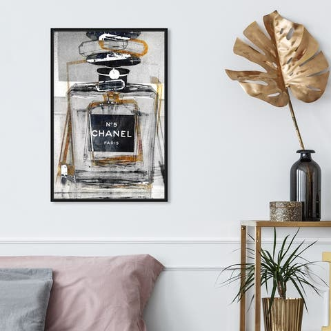 Oliver Gal 'Infinite Glam Gold' Fashion and Glam Wall Art Framed Canvas Print Perfumes - Gray, Black