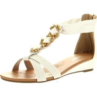 Bonnibel Womens Felice-2 Criss Cross T-Strap Gem Back Zipper Low Wedge Sandals