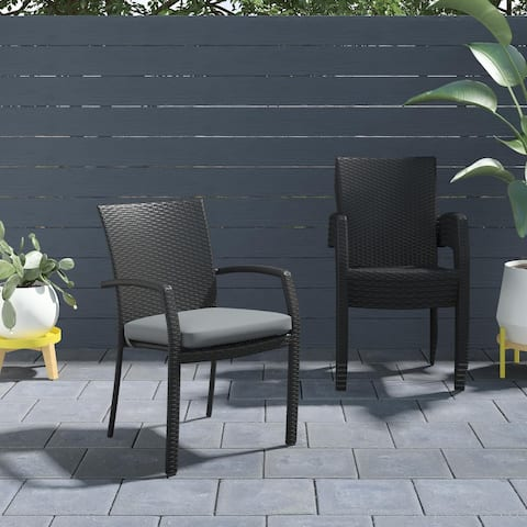 COSCO Outdoor Living Lakewood Ranch Steel Woven Wicker Stacking Dining Chairs with Cushions (6 Pack)