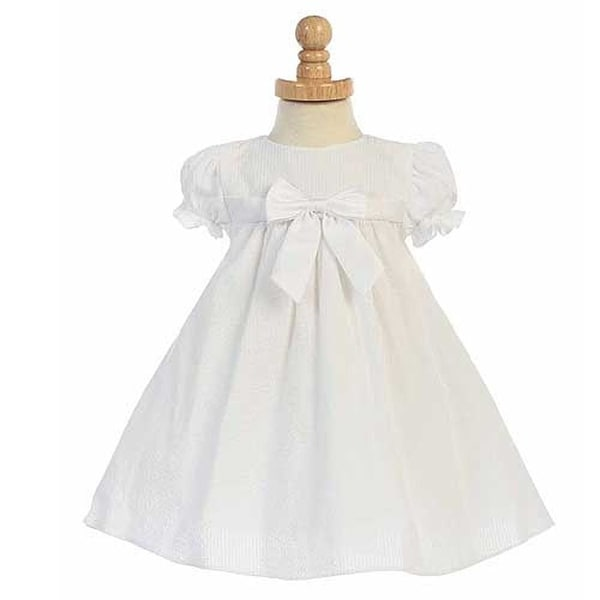 White Striped Seersucker Bow Easter Spring Dress Baby Girls 6-24M