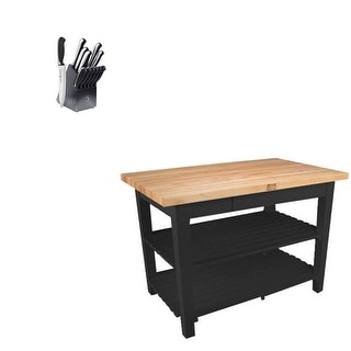 John Boos Oak 36x25 Butcher Block w/ 2 Shelves & Henckels Knife Set