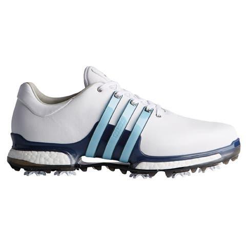 Men's Adidas Tour 360 Boost 2.0 White/ Blue Golf Shoes Q44938 (WIDE)