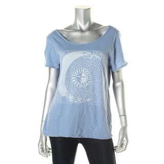 Lucky Brand Womens Open Back Short Sleeves Graphic Tee - L
