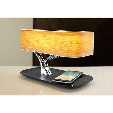 Sharper Image Bonsai Bluetooth Speaker Lamp with Wireless Charging Pad