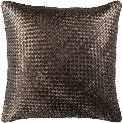 Cerdic Leather Dark Brown Feather Down or Poly Filled Throw Pillow 20-inch