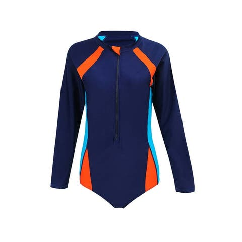 QZUnique Women Plus Elastic Long Sleeve Zipper Swimsuit Sun Protection One Piece Swimwear