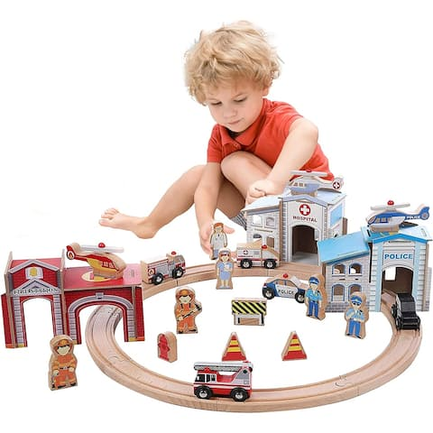 On Track USA 3 in 1 Emergency Police, Fire and Hospital Rescue Train Expansion Set; 40 Pieces