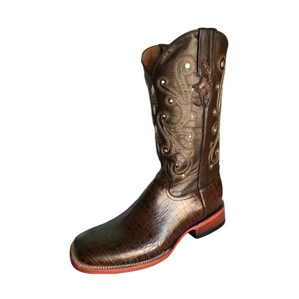 Ferrini Western Boots Mens Caiman Gator Cowboy Chocolate