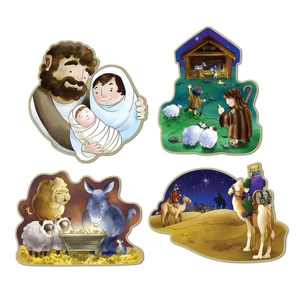 Club Pack of 48 Assorted Nativity Cutouts Christmas Decorations 16""