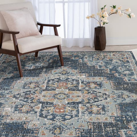 Adelyn Blue and Grey Woven Area Rug