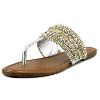 Madeline Blonde Open Toe Synthetic Thong Sandal