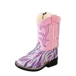 Old West Cowboy Boots Girls Kids Sparkle Zipper Purple Pink