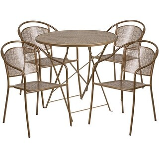 Westbury 5pcs Round 30'' Gold Steel Folding Table w/4 Round Back Chairs