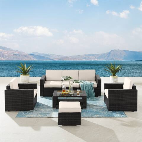 7 Pieces Outdoor Patio Furniture Sets with Coffee Table and Cushions, Wicker Rattan Sectional Sofa Sets(Black Base)