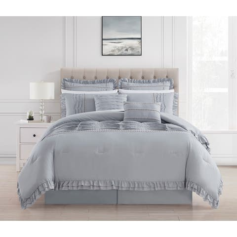 Chic Home Yvie 12 Piece Ruffled Border Bed In A Bag Comforter Set