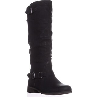 XOXO Moira Zip-Up Flat Knee-High Boots, Black