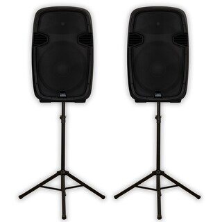 "Acoustic Audio AA152UB Powered 15"" Bluetooth Speakers 1800 Watts and Stands"