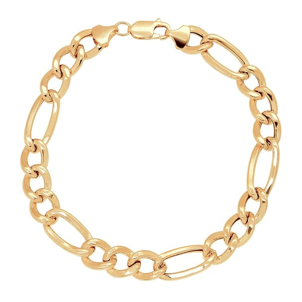 Just Gold Men's Figaro Link Chain Bracelet in 14K Gold - YELLOW