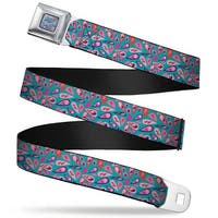 Rz Floral2 Full Color Turquoise Pinks Purple Rz Floral2 Turquoise Pinks Seatbelt Belt
