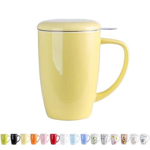 15Oz Multi-Color Ceramic Tea Cup Mug with Infuser