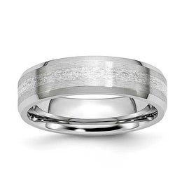 Chisel Cobalt Chromium Sterling Silver Inlay Satin/Polish 6mm Band
