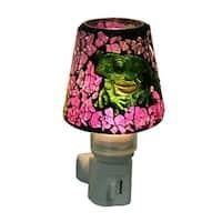 Colorful Mosaic Glass Frog Plug In Night Light - Purple