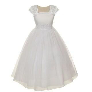 Kids Dream Little Girls White Satin Mesh Beadwork Flower Girl Dress