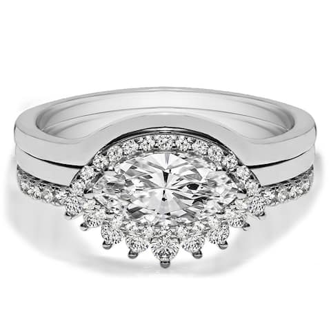TwoBirch 18k White Gold Microplated East West Marquise Three Ring Bridal Set lain Contour Band and Tiara Curved Ring