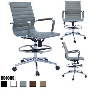 Link to 2xhome Drafting Chair with Arms For Office Ribbed Counter Height Bar Office Wheels Rest Swivel Work Standing Desk Footrest Similar Items in Office & Conference Room Chairs