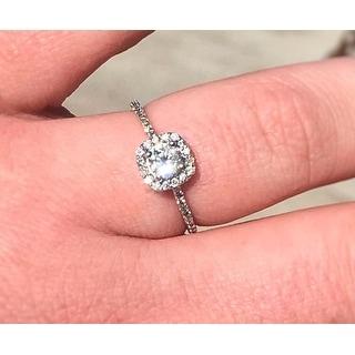 14k White Gold 1 1/5 ct TDW Round Diamond Cushion Halo Engagement Ring