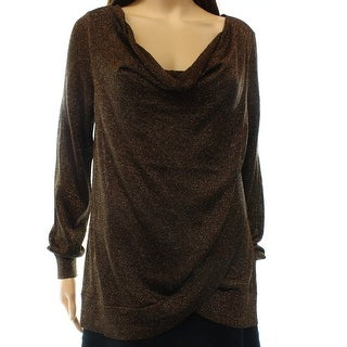 INC NEW Brown Bronze Women's Size Medium M Cowl Neck Shimmer Sweater