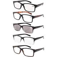 Men 5-Pack Spring Hinges Vintage Reading Glasses+4.00